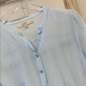 LOFT | SP | pale sky blue sheer button down shirt